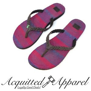 Sanuk Leather Strap Fabric Bottom Sandals Pink